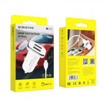 АЗУ micro-USB кабель, 2.4A, 2-USB, белый, Borofone BZ12