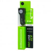 АЗУ 8-pin кабель, 2.1А, 2-USB, чёрный, в коробке, FASTER ELTRONIC