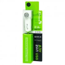 АЗУ 8-pin кабель, 2.1А, 2-USB, белый, в коробке, FASTER ELTRONIC