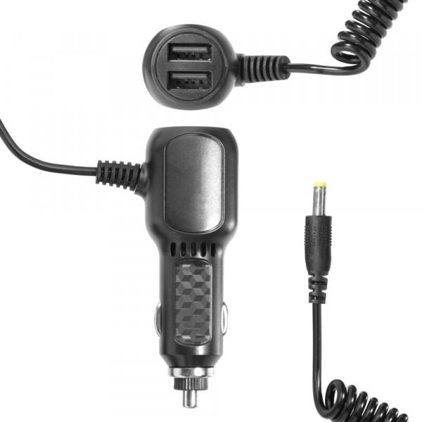 АЗУ для радар-детектора 5V 3A, SY-16/YZH-528, штекер (4,0*1,7), 2-USB, витой, 1,8 м.