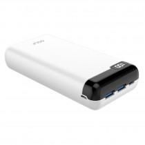 Внешний АКБ 20000 мАч GOLF LCD22, 2 USB, 2.1A, micro-USB, Type-C, дисплей, белый