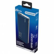 Внешний АКБ 10000 мАч Ritmix RPB-10002, USB 5В 2.1А, Type-C, Li-Pol, синий