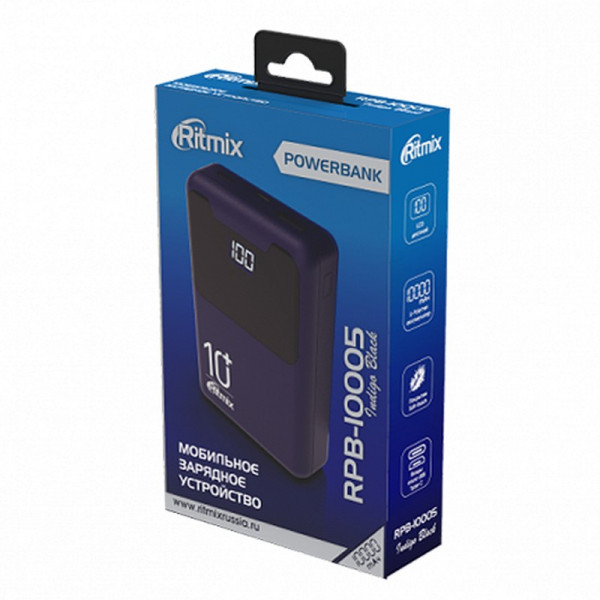 Внешний АКБ 10000 мАч Ritmix RPB-10005, 1xUSB 5В 2.1А, Type-C, дисплей, Li-Pol, Indigo Black