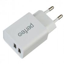 СЗУ 2-USB 2.4A, I4613, белый, Perfeo (60)