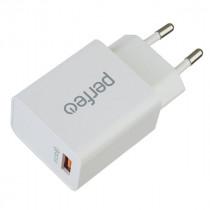 СЗУ 1-USB 2.4A, QC 3.0, I4615, белый, Perfeo (60)
