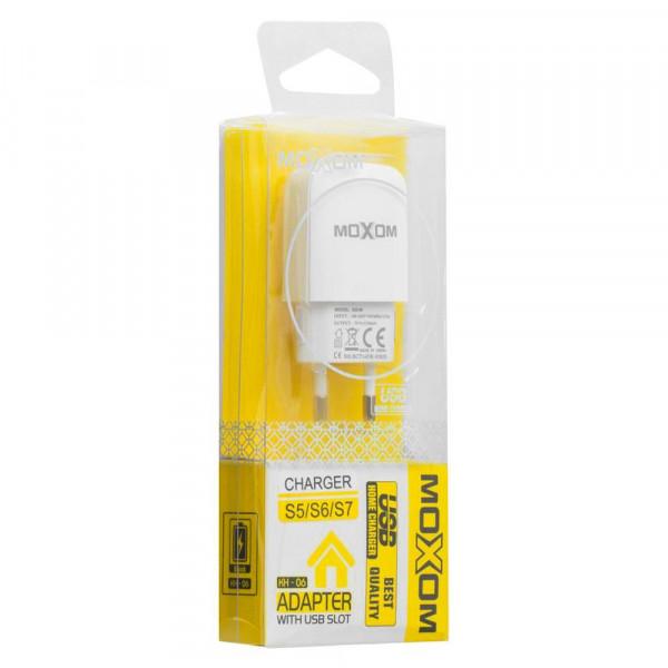 СЗУ 8-pin кабель, 2.1А, 1-USB, KH-06, белый, MOXOM