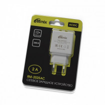 СЗУ 2-USB 2.0A, RM-2025АC, белый, Ritmix