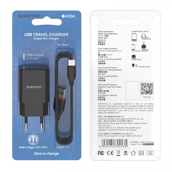 СЗУ micro-USB кабель, 2.1A, BA20A, чёрный, Borofone