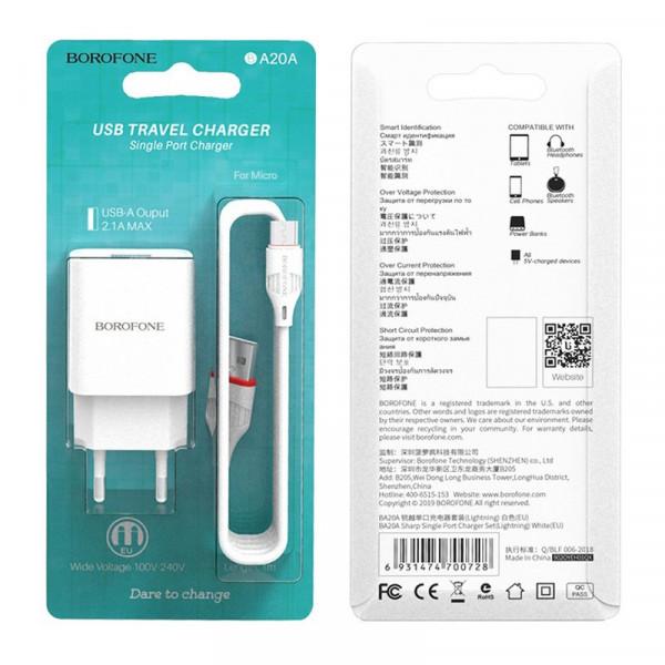 СЗУ micro-USB кабель, 2.1A, BA20A, белый, Borofone