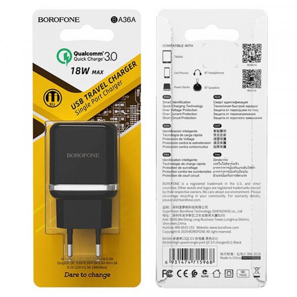 СЗУ 1-USB, 3A, QC 3.0, BA36A, чёрный, Borofone