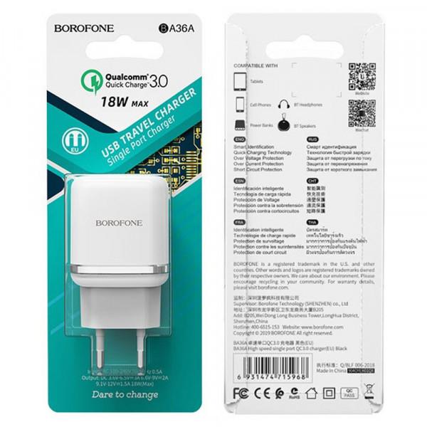СЗУ 1-USB, 3A, QC 3.0, BA36A, белый, Borofone