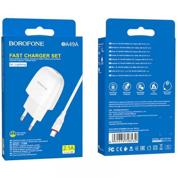 СЗУ 8-pin кабель 2.1A, BA49A, белый, Borofone