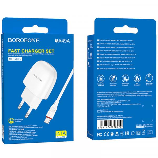 СЗУ Type-C кабель 2.1A, BA49A, белый, Borofone