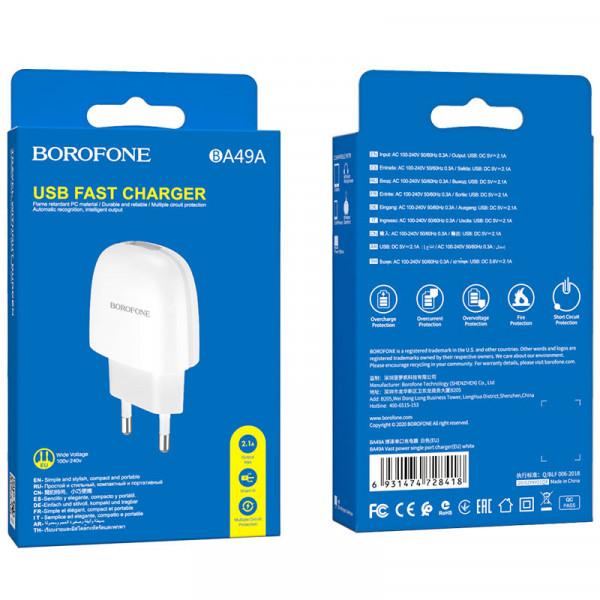 СЗУ 1-USB 2.1A, BA49A, белый, Borofone