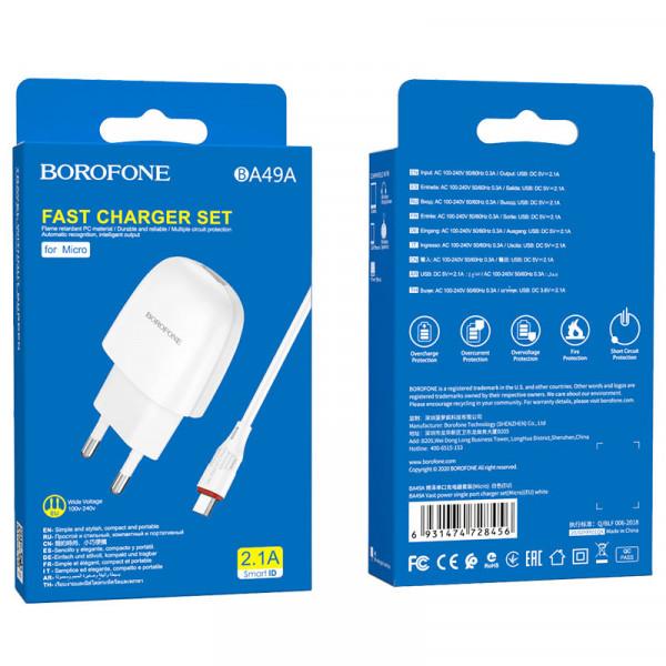 СЗУ micro-USB кабель 2.1A, BA49A, белый, Borofone