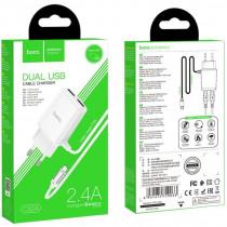 СЗУ micro-USB 2.4A, 2-USB, C82A, белый, слитный, Hoco