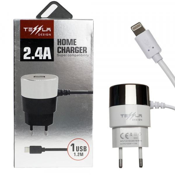 СЗУ 8-pin 2.4A, +USB, TL-19, белый, слитный, Tessla