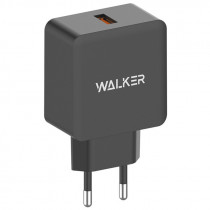 СЗУ 1-USB, 2.4А, QC 3.0, WH-25, чёрный, WALKER