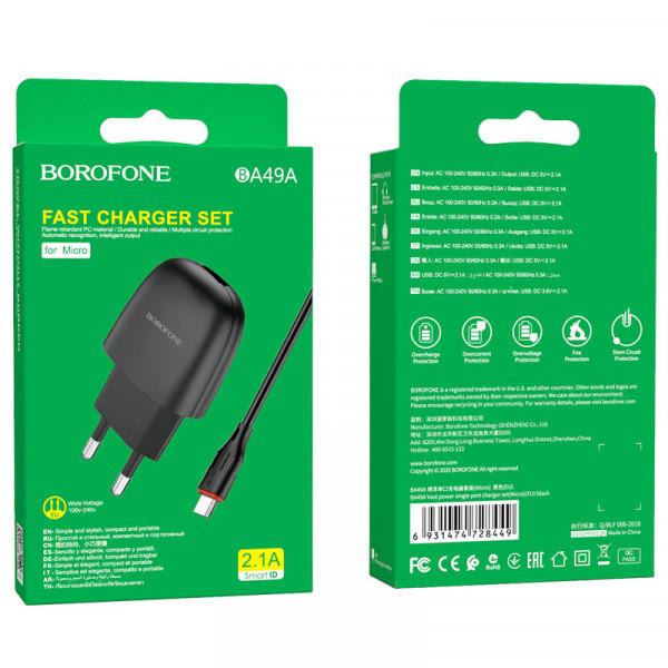 СЗУ micro-USB кабель 2.1A, BA49A, чёрный, Borofone