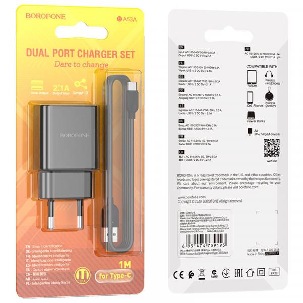 СЗУ Type-C кабель 2.1A, 2-USB, BA53A, чёрный, Borofone