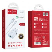 СЗУ Type-C кабель, 3А, QC 3.0, C12Q, белый, Hoco