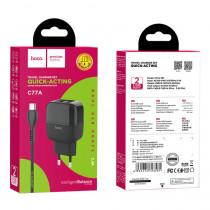 СЗУ micro-USB кабель, 2.4A, 2-USB, C77A, чёрный, Hoco