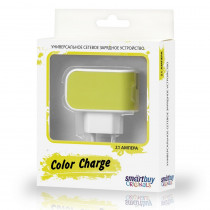 СЗУ 1-USB 2А, SmartBuy Color Charge SBP-8020, бело-жёлтый