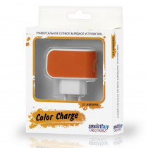 СЗУ 1-USB 2А, SmartBuy Color Charge SBP-8050, бело-оранжевый