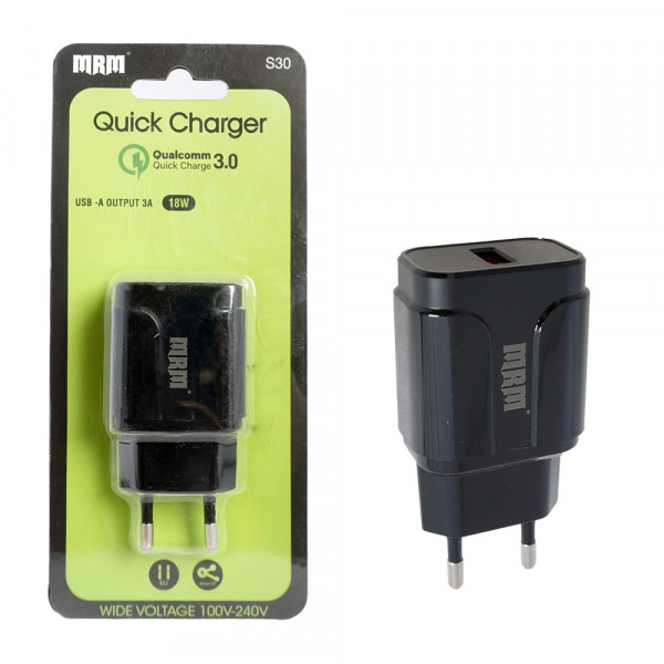 СЗУ 1-USB, 3.1A, QC 3.0, MR-S30, чёрный, MRM
