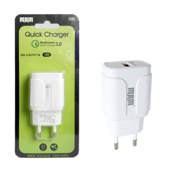 СЗУ 1-USB, 3.1A, QC 3.0, MR-S30, белый, MRM