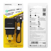 СЗУ micro-USB кабель, 3A, QC 3.0, BA36A, чёрный, Borofone