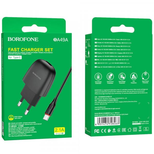 СЗУ Type-C кабель 2.1A, BA49A, чёрный, Borofone