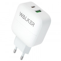 СЗУ 1-USB + Type-C PD, QC 3.0, Walker WH-37, белый